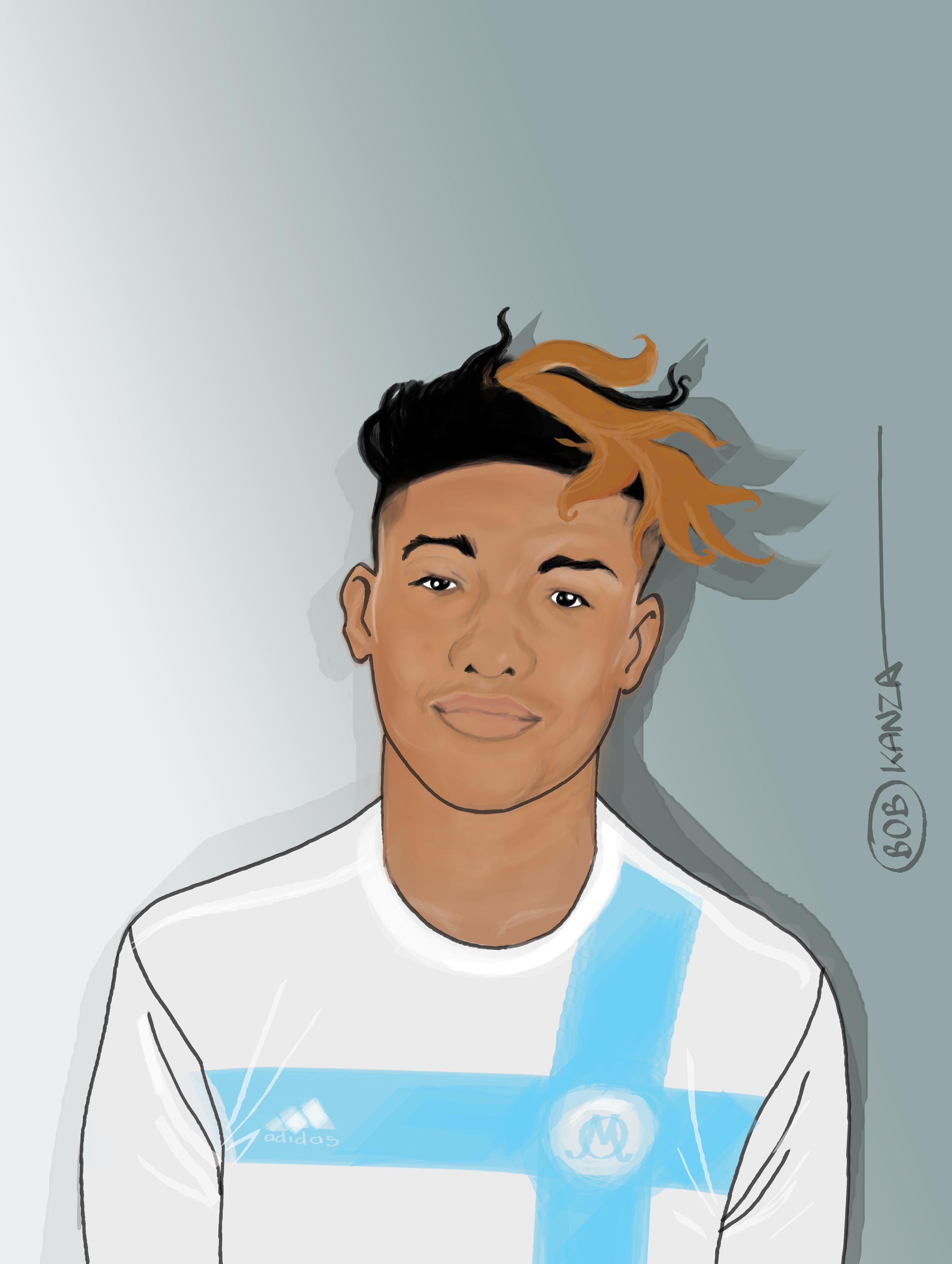 Illustration Portrait Kamara - Olympique de Marseille - Bob Kanza