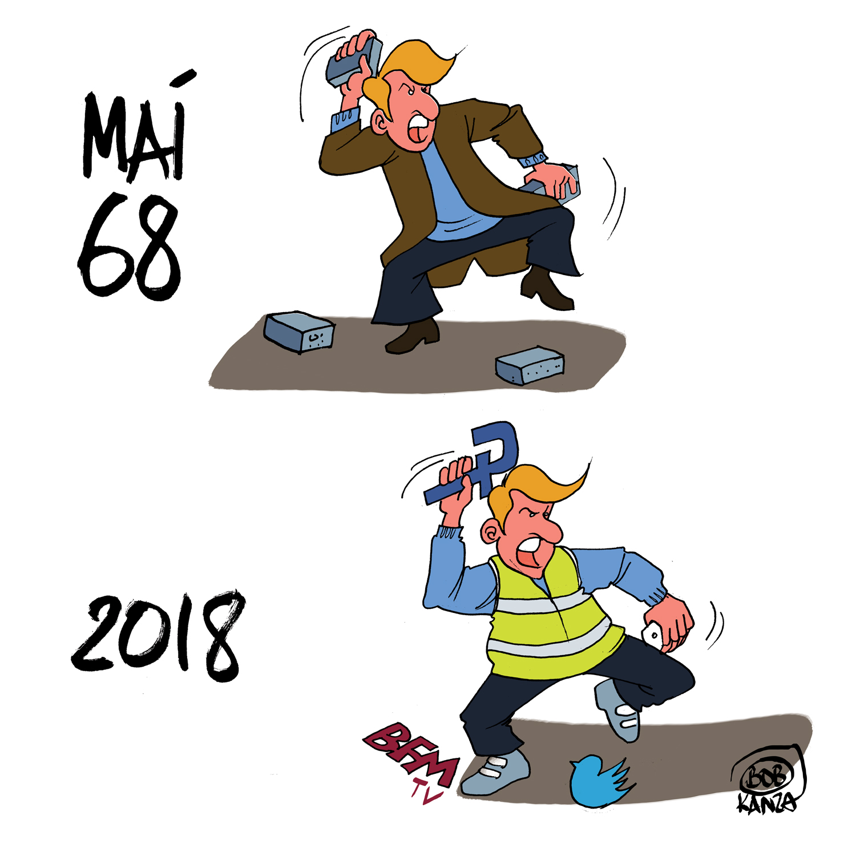 Mai 68 vs Gilets Jaunes 2018 - Dessin de Presse - Bob Kanza
