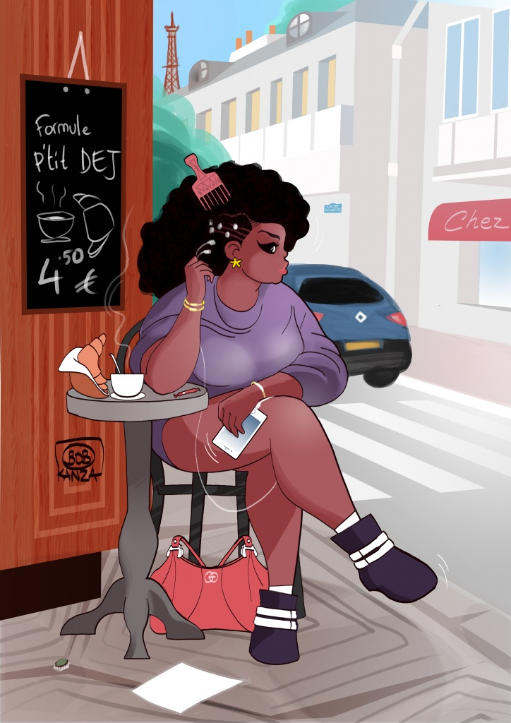 Babette boit un café à Paris