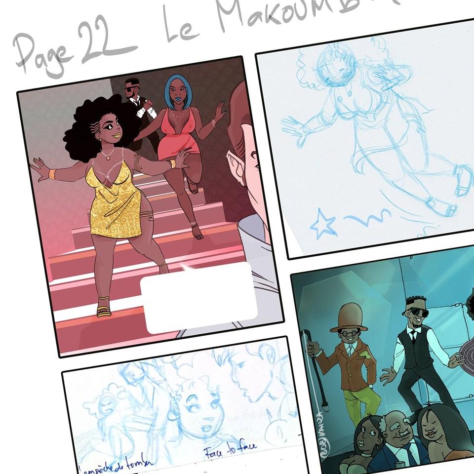 Babette Motuka au Makoumba Discothèque - BD Afropolitaine Bob Kanza - decoupage - storyboard comic