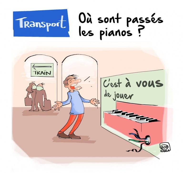 Transport - piano - Covid-19 caricature © Bob Kanza