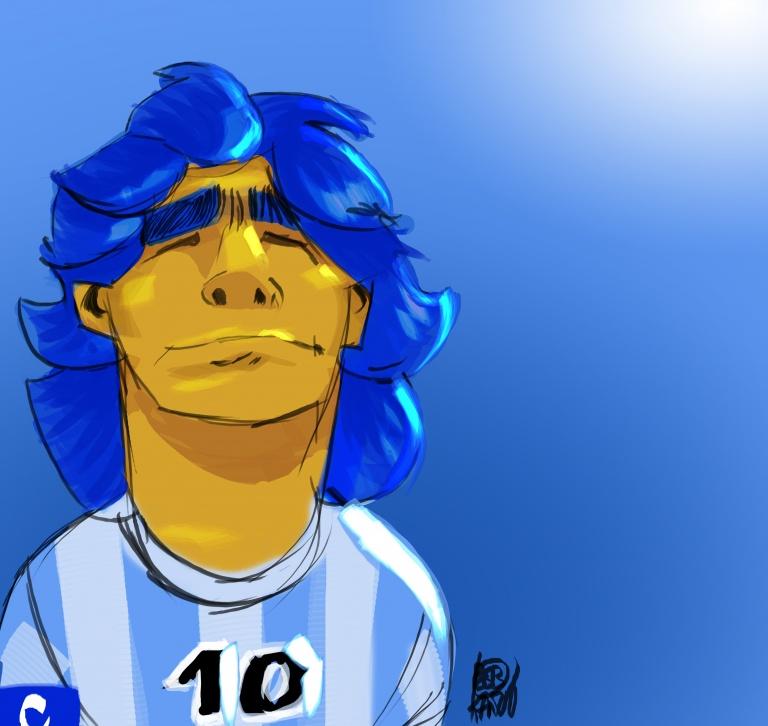 Diego Maradona caricature Bob Kanza