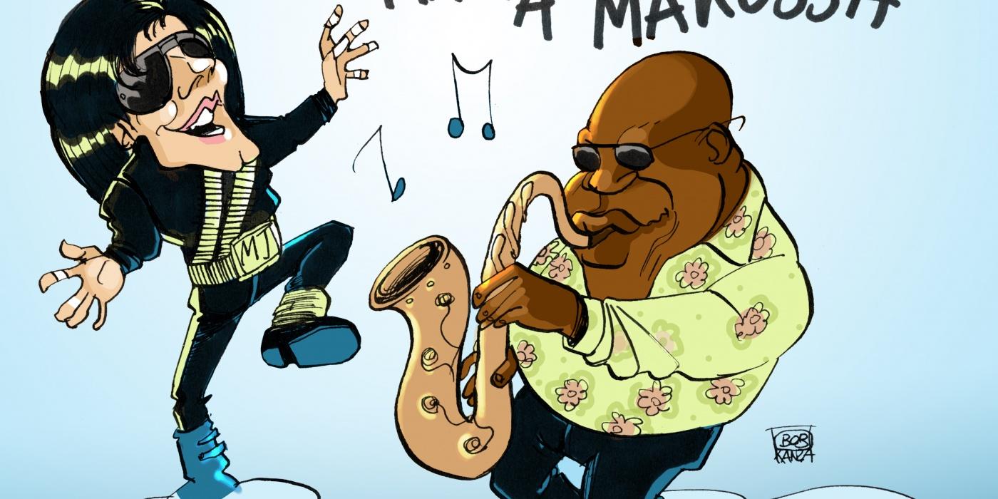 Michael Jackson et Manu Dibango - Caricature - Makossa - Bob Kanza